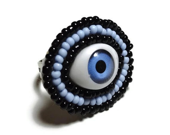 Blue Evil Eye Ring - Adjustable Bead Embriodered Backed with Velvet Fabric - MegansBeadedDesigns