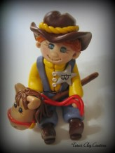 Boy with Stick Pony by trinasclaycreations.etsy.com