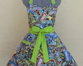 Sweetheart Hostess Apron - Marvel Comics- with a hint of Lime- - ApronsByVittoria