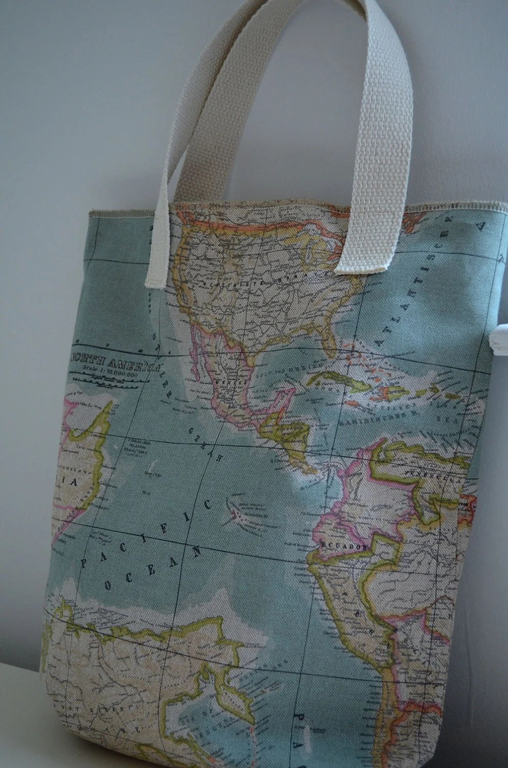 Market Tote Bag in World Map - globe travel shopping bag diaper bag school canvas continents atlas blue pastel library tote