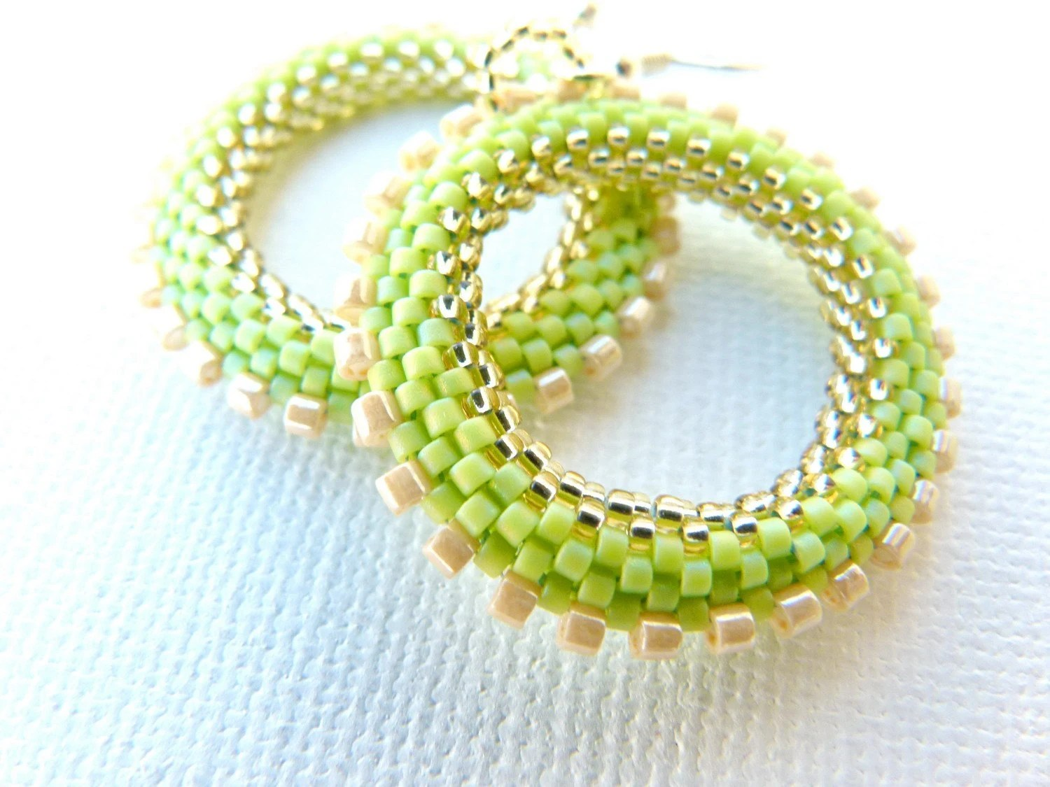Lime green Hoop Earrings. Bead woven Light Green golden cream Pastel Spring Summer Fashion  jewelry - CallOfEarth