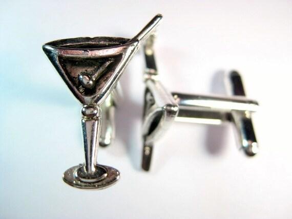 Martini Glass Cuff Links - classiccufflinks