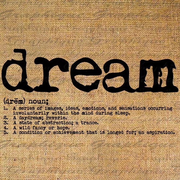 DREAM dictionary DEFINITION Digital Collage Sheet Download Burlap Fabric Transfer Iron On Pillows Totes Tea Towels No. 3468 - Graphique