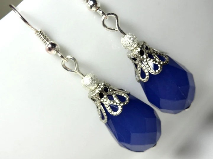 Blue Earrings Dangle from Silver Placed Hooks or Clip Ons - Topped with Silver Colored Filigree Cap - Glamour365