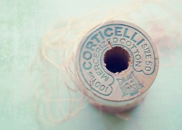 Faded Pink - Photography print Vintage wooden thread spool pastel pale pink baby blue craft room decor macro Photograph 5x7 - GrainnePhotography