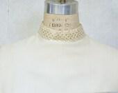 Vintage sheath dress 1960s cream gold jewel trim New Years elegance - VintageCostumes
