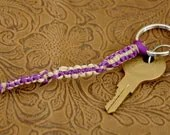 Purple Ribbon and Natural Hemp Keychain