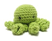 Crocheted Toy Octopus - Stuffed Animal - Lime Green - anamorphicecho