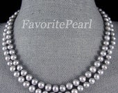 Gray Pearl Necklace - 35.5 Inches 7-8MM Gray Color Freshwater Pearl Long Necklace - Free Shipping