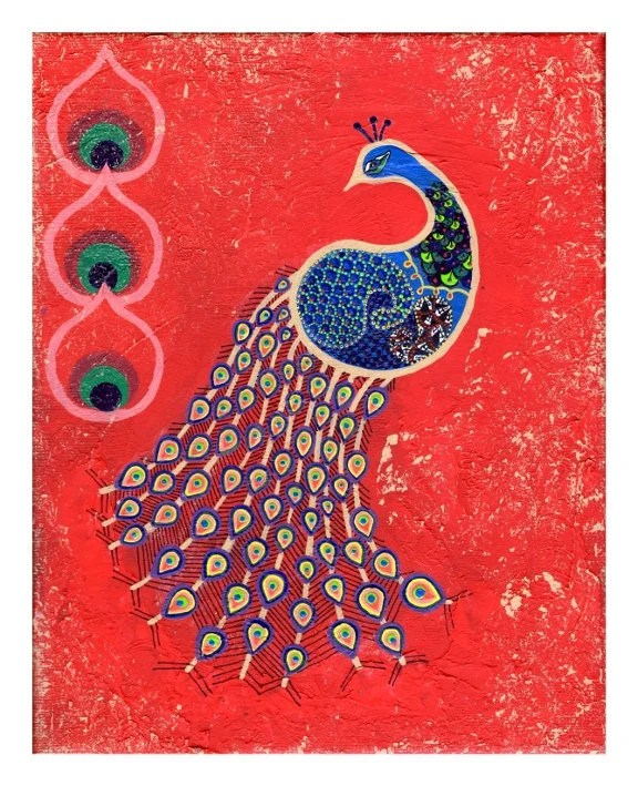 Peacock in the Dawn - India Inspired Exotic Art Print - Limited Edition - Will surely make your place stand out - pandraa