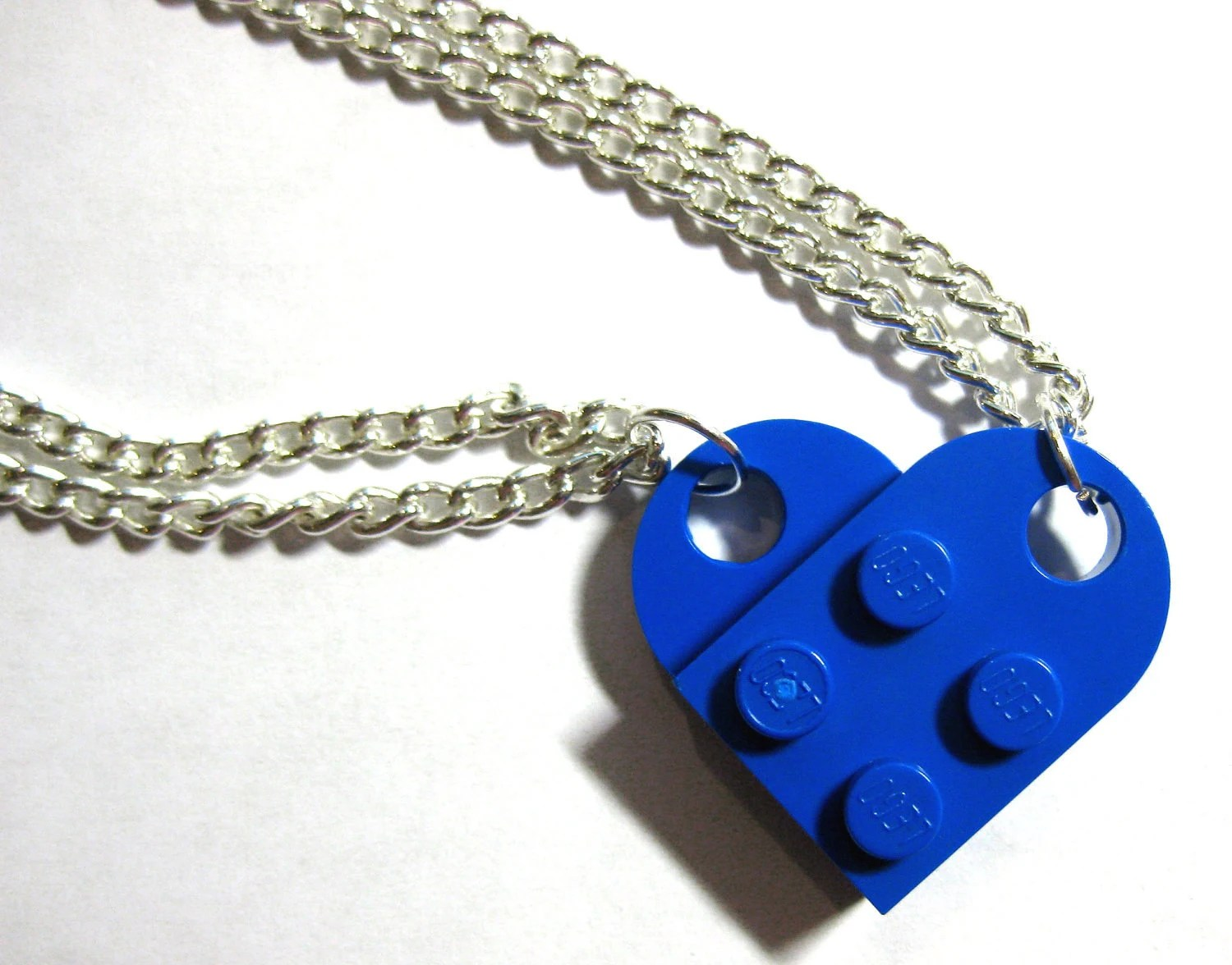 DOUBLE chain LEGO Heart Necklace, Lego Heart Friendship Necklace - Gift For Couples, Family, Friends, BFFs - 2 necklaces make 1 Whole Heart