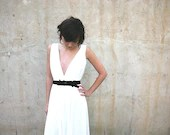 wedding dress deep V neck cleavage with jewelry belt - Barzelai