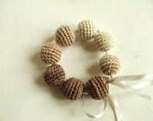 Stylish design, Original Crochet Bracelet / batik color / Brown / Valentine's Day Gift. Love. % 100 Cotton - gloveshop
