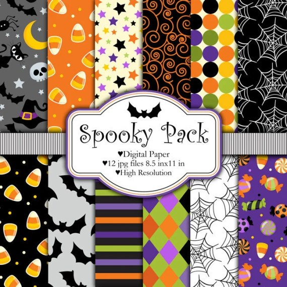 Halloween Digital Paper Set - Spooky Pack - pixelpaperprints
