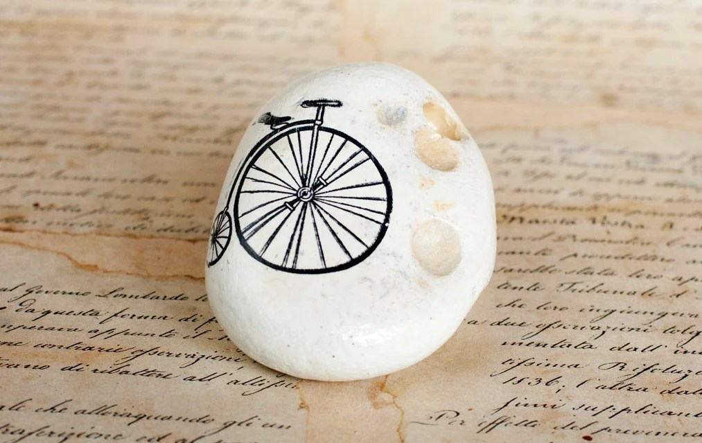Painted Stone Bicycle, Black Sea Cost White Stone