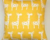 JANUARY SALE- Premier Prints Yellow Giraffe Pillow Cover- 18x18 inches- Hidden Zipper Closure - Modernality2