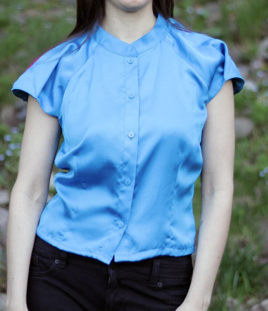 Space Age Silk Blouse - Upcycled