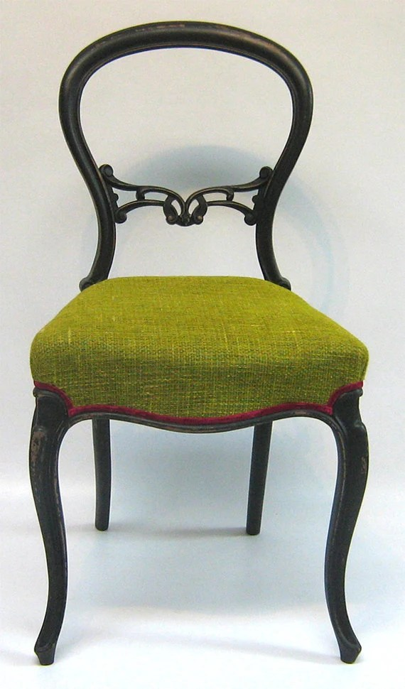 Victorian balloon back lime green tweed chair - SomethingOrOtherUk