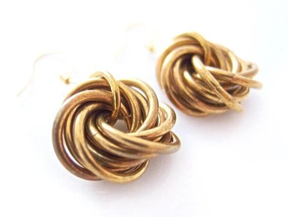 Love Knot Earrings, Brass Chainmaille Earrings, Chainmail Earrings, Patina Earrings, Classic Style, Heirloom, Handmade by JeannieRichard