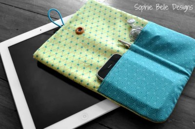 iPad Cover in green and turquoise Riley Blake fabric
