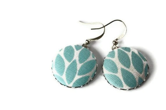 Fabric Button Earrings with Nickel Free Fish Hooks. Turquoise Blue Leaves Fabric. - VeniciaCreations