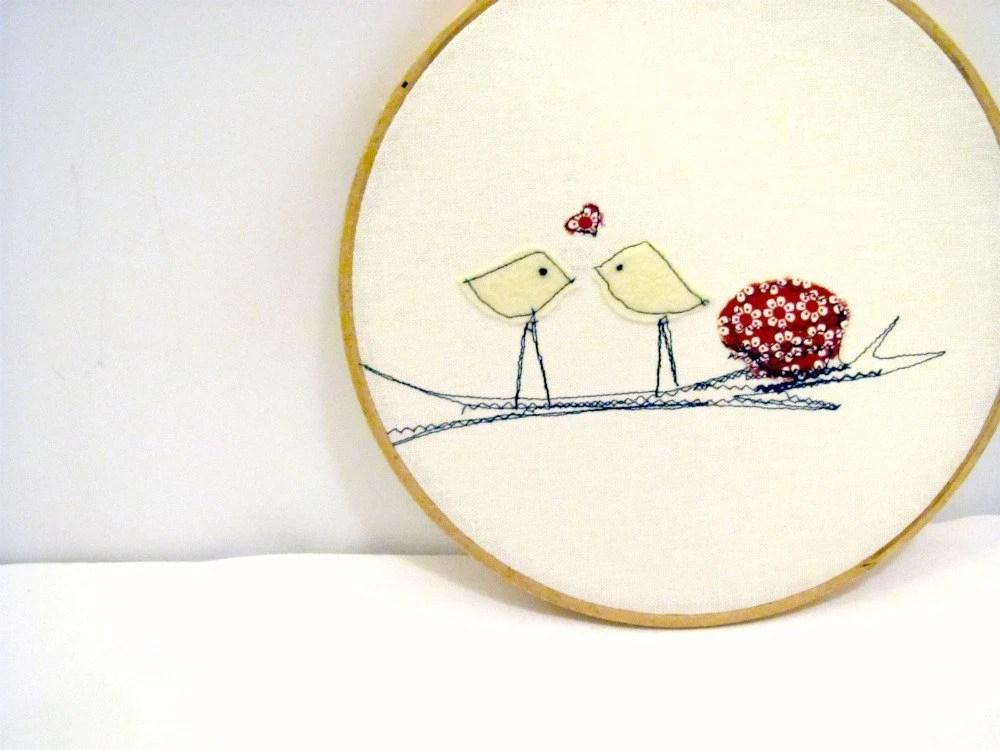 Valentine, Love Birds, Red Wall Hanging, Hoop Art, Home Decor, Children's Room, Folk Art, Cottage Chic - hartstringz