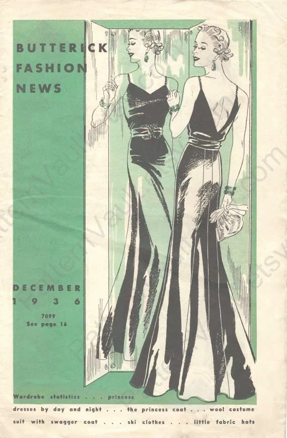 Illustration of a woman in evening dress before a mirror - 1930s Butterick Fashion News cover