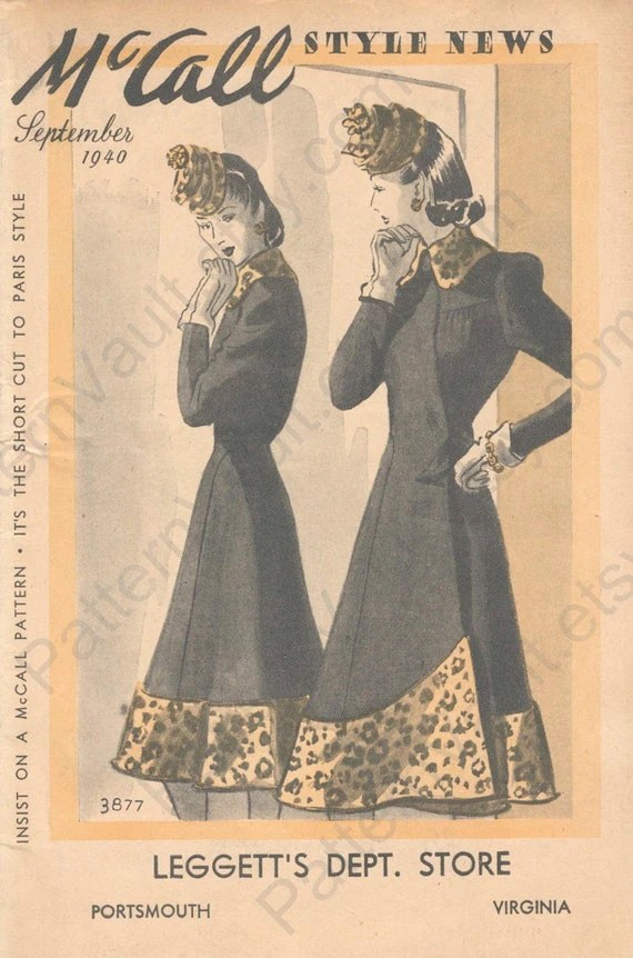 A woman in a coat with leopard trim contemplates her reflection - 1940 McCall Style News cover
