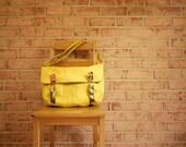 Laptop Messenger Bag in Mustard Canvas- Yellow Vegan Cross Body Satchel - solaWu