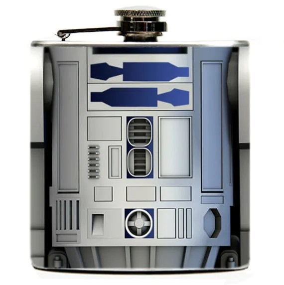 R2-D2 6oz Hip Flask. R2D2 from Star Wars featured on both sides of Flask