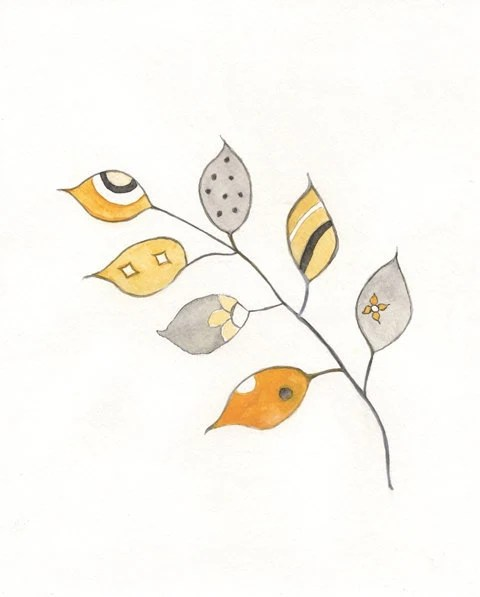 Leaves of Change Abstract/Yellow and Grey/ Yellow, Gray, Black Watercolor Print - kellybermudez