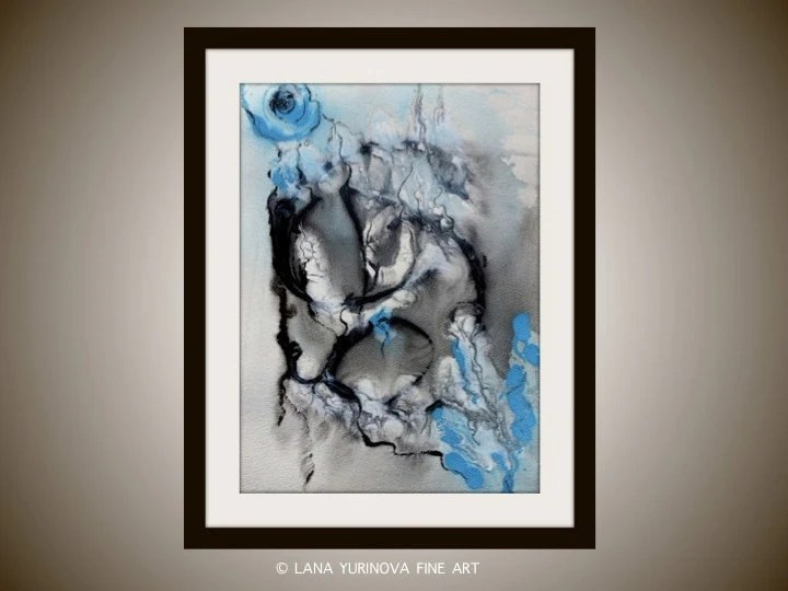 Abstract Original Painting on Paper - Black and Blue - yurinovafineart