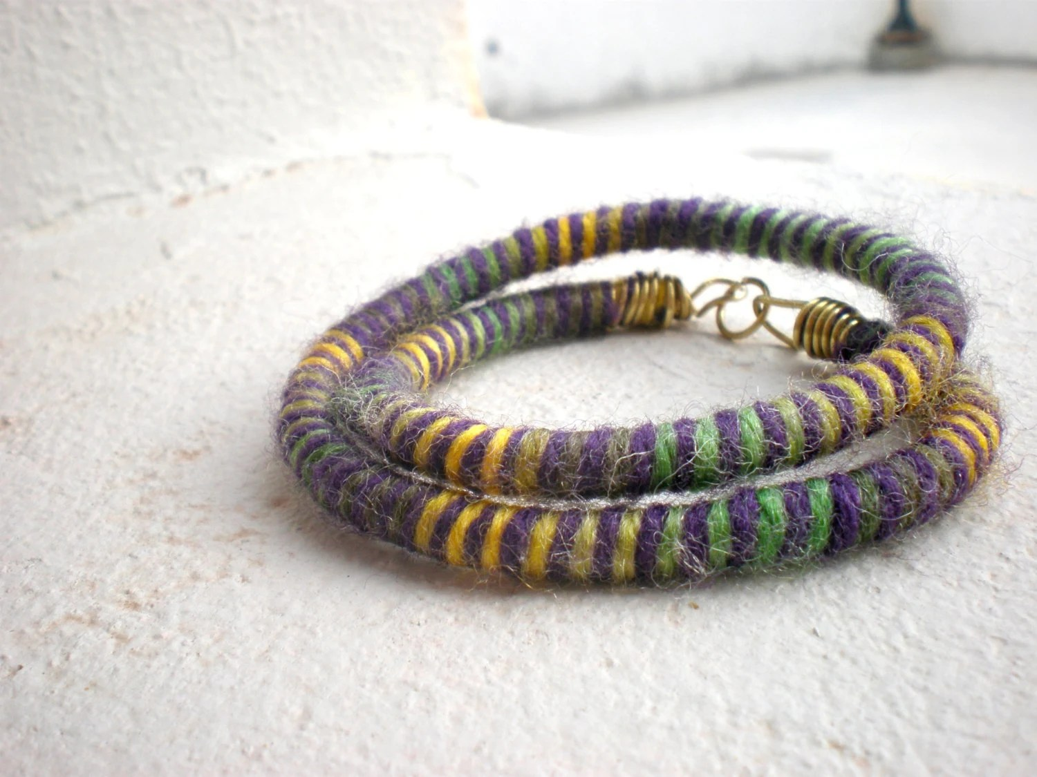 colorful wool bracelet - everyday jewelry, african, purple, green, yellow - colortreasures