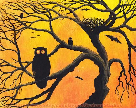 OWLS & BATS Halloween Original Painting 8X10 Spooky Tree Crazy Eyed Owl Eerie Orange Sky Birds Nest Demon Eyed Bat Animal Art by K Graham