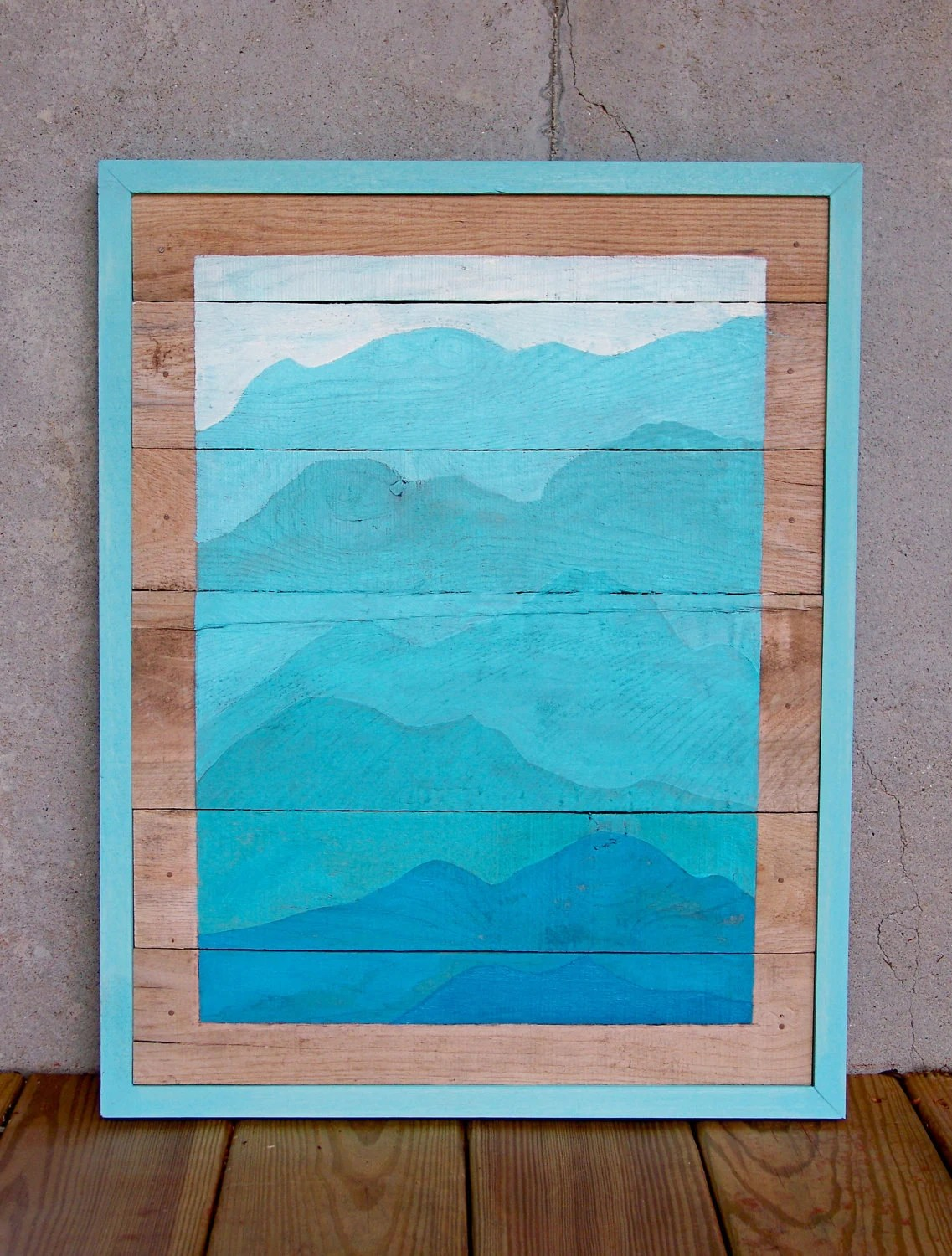 Reclaimed Wood Pallet Turquoise Mountain Painting