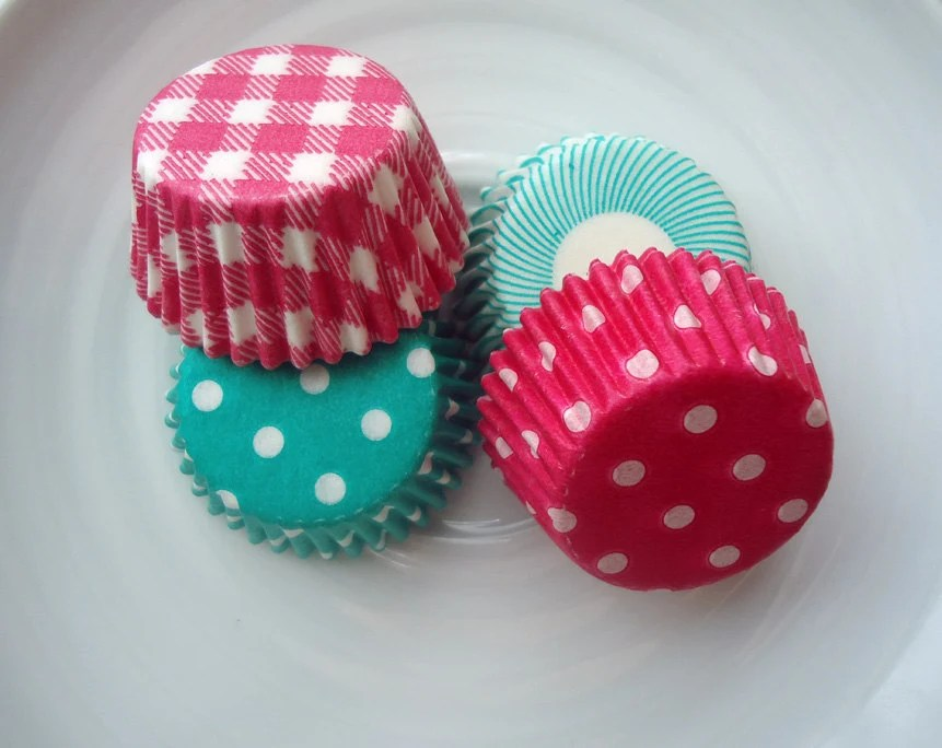 Mini Cupcake Liners - Mini Baking Cups - Pink and Teal Combo Pack (60) - CakesAndKidsToo