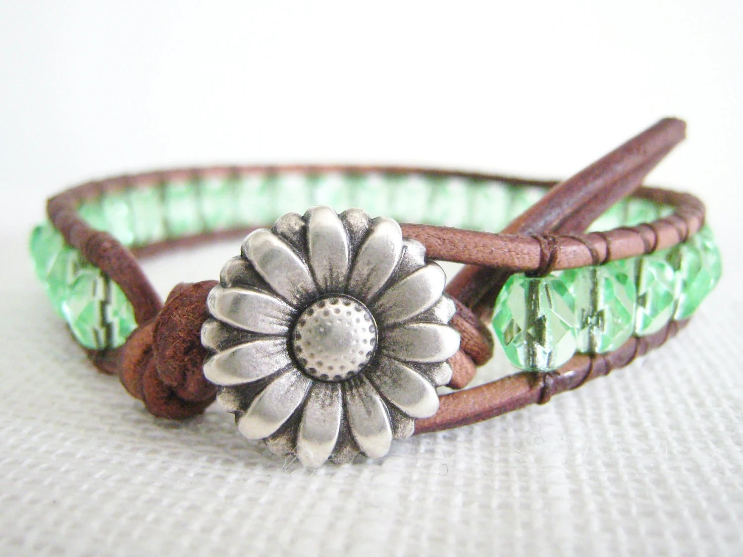 Beaded Leather Bracelet -Light Green Czech glass Boho Bohemain shabby chic silver flower button - TrulyAmberJewelry