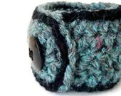 Turquoise Tweed & Black cuff - Soft crochet fiber cuff,  funky jewelry for autumn fashion / fall 2012 - BeachPlumCottage
