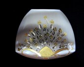1930's NEVER USED Elgin American Brushed Silver Powder Compact with Gold Floral Design