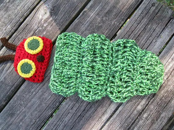 The Very Hungry Caterpillar Crocheted Baby Outfit --Great Photography Prop