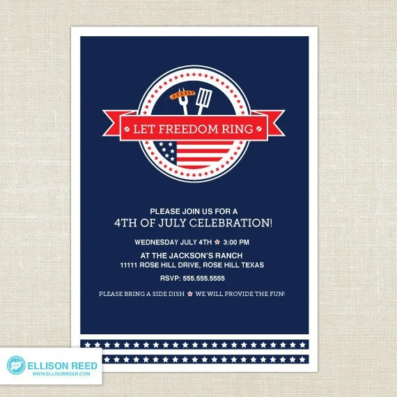 4th of July Invitation - 4th of july printable - BBQ invitation - Independence Day - Patriotic - Red - White - Blue - Stars - DIY Printable - EllisonReed