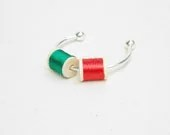 Mini Wooden Spool Cuff Bracelet Green Red Color - arthandmadejewelry