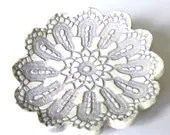 Ceramic Flower Plate Oval Shape  Purple White Dish Ring Holder Eco Friendly Lace Pattern Pottery - Ceraminic