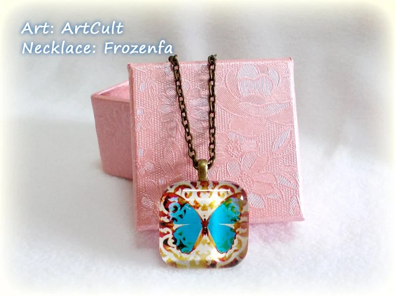 Vintage Blue Butterfly - Square Glass Tile Necklace
