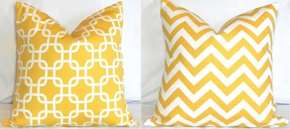 Two 18 x 18 Pillow Covers: Yellow and White Chevron Zig Zag & Gotcha Lattice