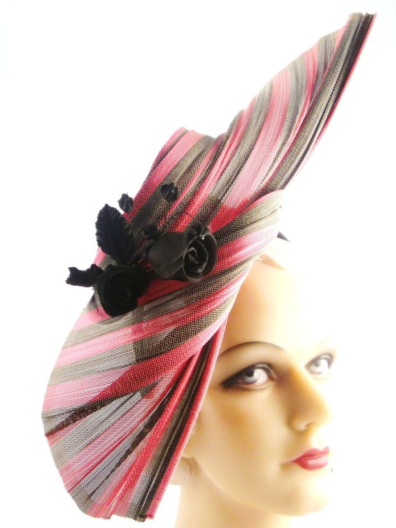 Scarlet and Grey Straw Sculpture with Black Roses - Oh My - HatArtists