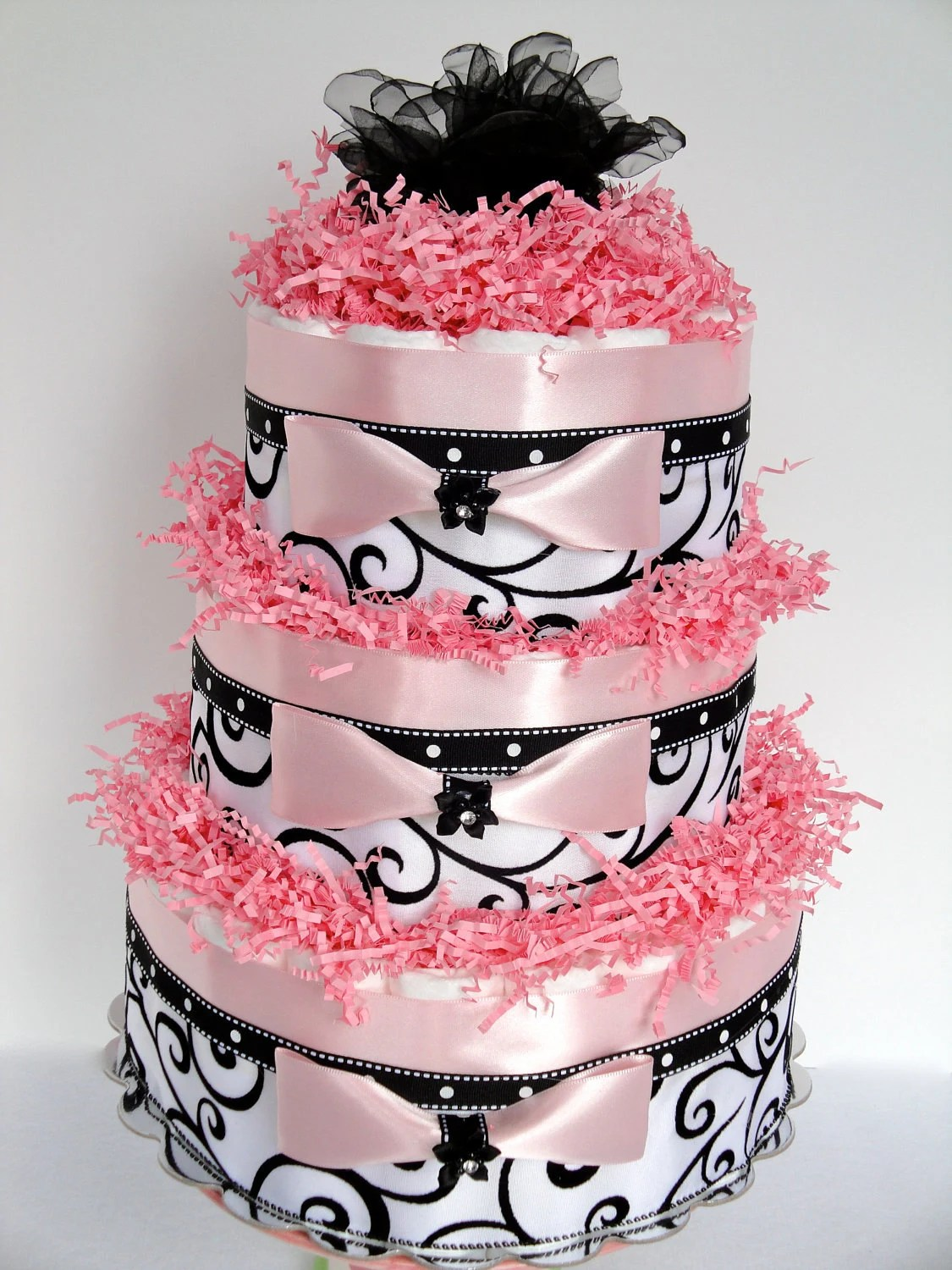 Diaper Cake - Black, Pink & White Damask Elegance Baby Shower Diaper Cake Centerpiece  - 3 Tier