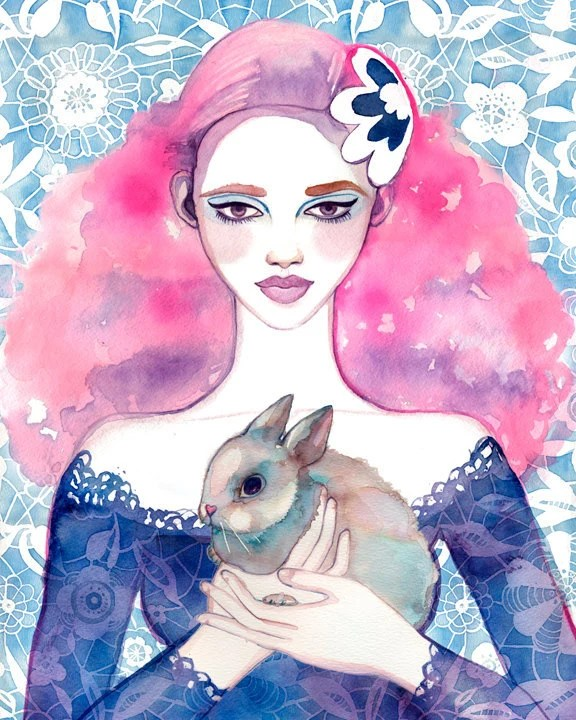 PRINT / Cherry Blossom Girl / pink hair girl with bunny