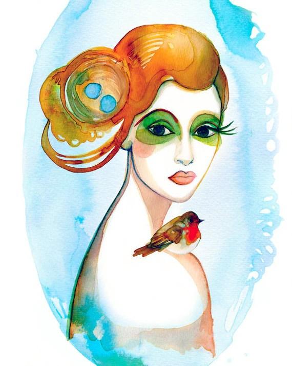 PRINT/  Robin's Reflection / girl with red robin, birds nest hair, blue eggs, green eyes