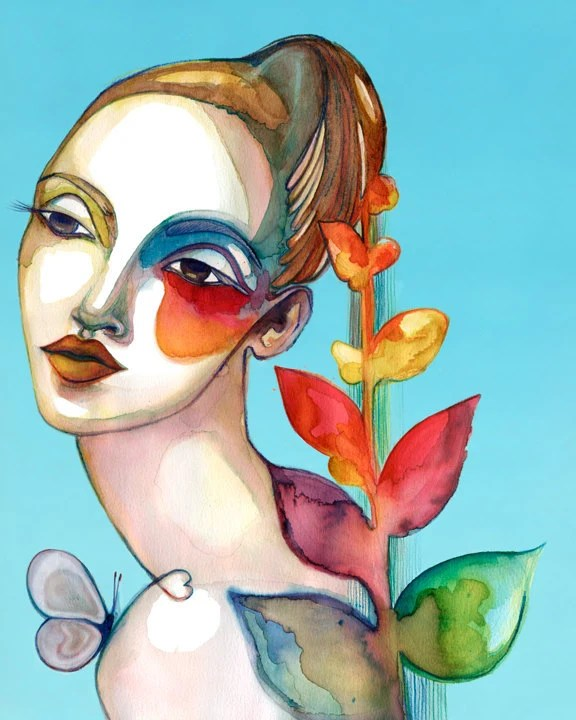 PRINT / Iris In the Afternoon / girl with rainbow leaf hair with butterfly